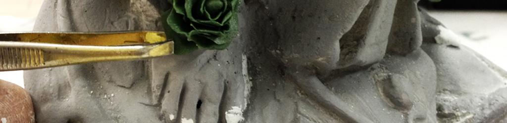 intervento di ricostruzione su statua antica